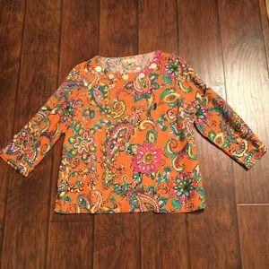 Orange Paisley Top